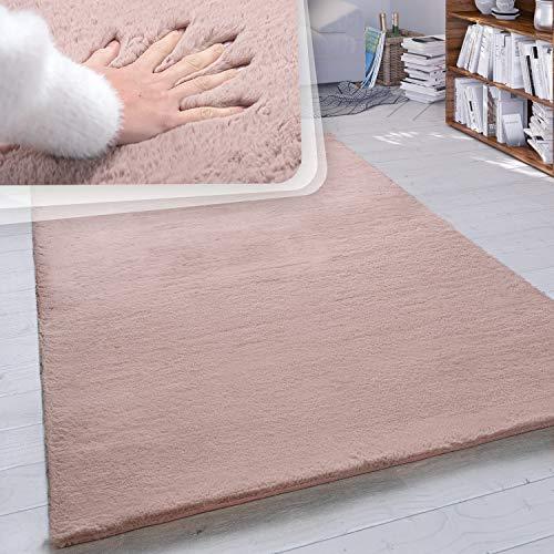 Paco Home Hochflor Teppich Wohnzimmer Kunstfell Super Soft Einfarbig in Versch. Größen und Farben, Grösse:160x230 cm, Farbe:Pink