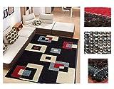 Alfombra de Salón Frise Pelo Largo Tupido Cuadrados Geometricos Modernos Color (Negro, 184_x_260 CM)