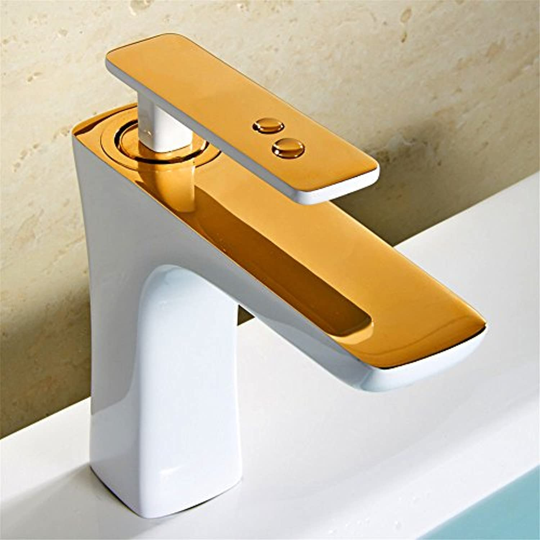 LHbox Bad Armatur in Bad für Waschbecken Waschtisch Wasserhahn Waschtischarmatur Weies Gold Hahn Moderne Konsole Waschbecken Waschbecken Einloch heie und Kalte Voll Kupfer Lack E
