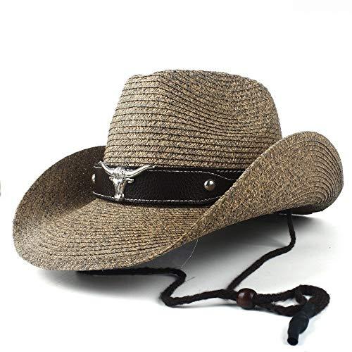 no-branded Sombrero de paja de verano para hombre, de paja de paja para hombre, de Panamá, vaquero, jazz, caballero, color café, tamaño: 56-58)