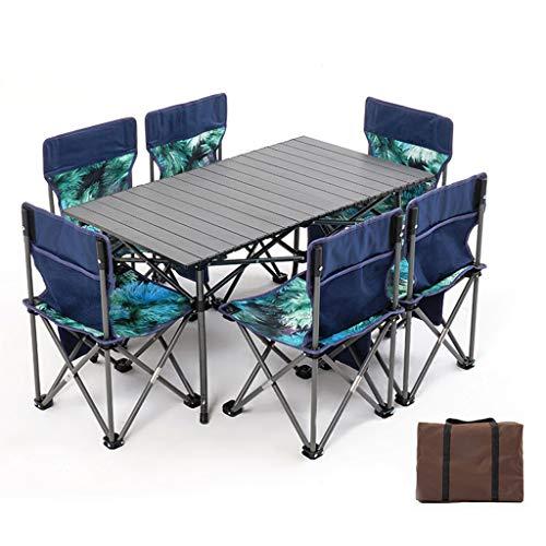 JINGQI Al Aire Libre Mesa de jardín Conjunto de 7 mesas Plegables de Aluminio de aleación y sillas de Viaje de Auto-conducción de Coches de Picnic Barbacoa Ocio Mesas y sillas de Camping,Azul