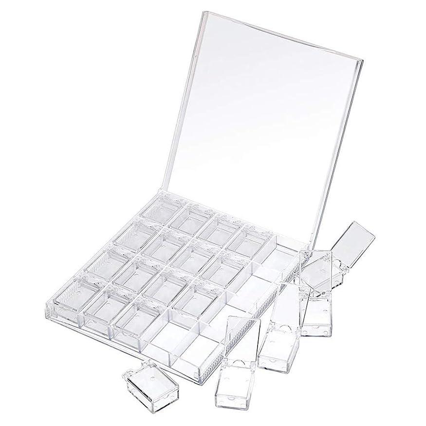 可動キャッシュママMOOJOO ネイルパーツケース 小分け クリア ケース ビーズ収納 仕切り 20セクション 透明?