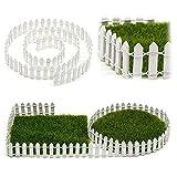 SUPEWOLD 1M Miniatur Garten Zaun, Miniatur Holz Zaun Fairy Garten Set Terrarium Porzellanpuppe Haus DIY Zubehör Dekor - Weiß, 100x3cm -