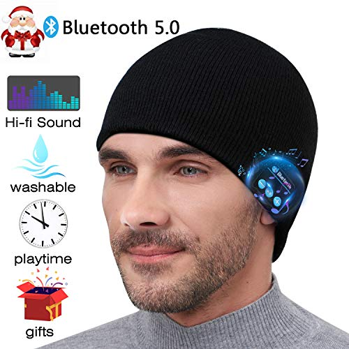 Bluetooth Beanie,Unisex Upgraded V5.0 Wireless Headphone Music Hat,Gifts for Men Women,Knit Cap with Stereo Speaker Headset Mic Hands Free for Outdoor Sports,Unique Christmas Birthday Tech Gag Gifts