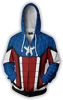 6471fbf4ae0f7 ZZBM Captain America-Unisexe Homme Casual Sweats à Capuche zippé à Manches  Longues Sweat-