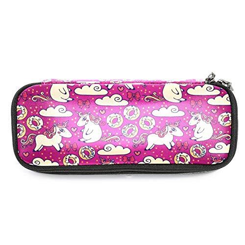 Lederen etui Pen Bag Houder Grote Capaciteit met Doodle Eenhoorns en Snoepjes Ideaal voor School/College/Uni.- Make-up Bag