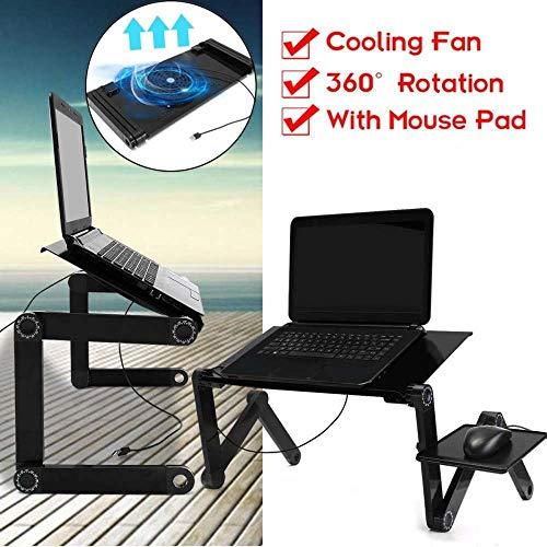 ZA Multifunktions-Laptop-Schreibtisch-Tischständer Bett-Behälter Tragbarer Laptop Ständer Aus Aluminium-Halter Mit Mausunterlage Coole-Rot (Color : Black)