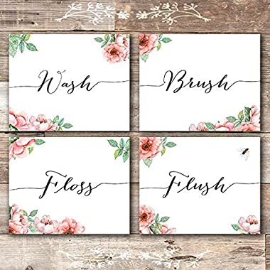 Bathroom Decor Art Prints Floral (Set of 4) - Unframed - 8x10s