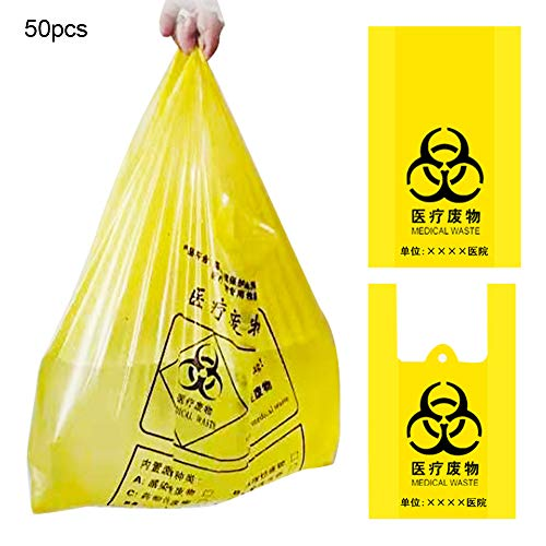 Steellwingsf Einweg-umweltfreundlicher Müllsack, 50 Stück Dicker Müllsack Krankenhauslabor-Müllverpackungsbeutel Tragbar** 50 * 60 cm