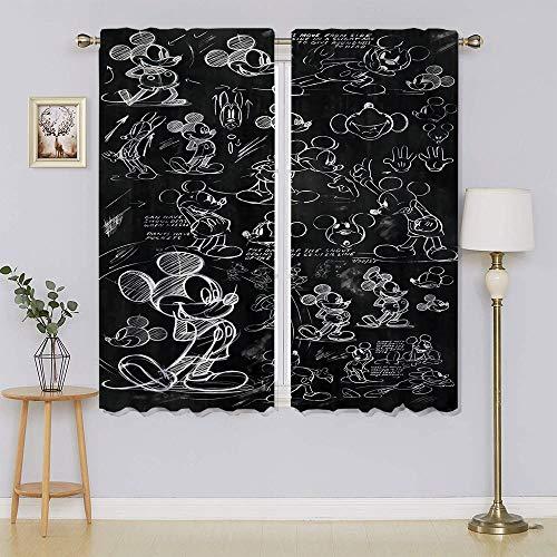 lacencn Mickey-Mouse - Cortinas con ojales y filtrado de luz, cortinas de privacidad para el pasillo (72 x 63 cm)