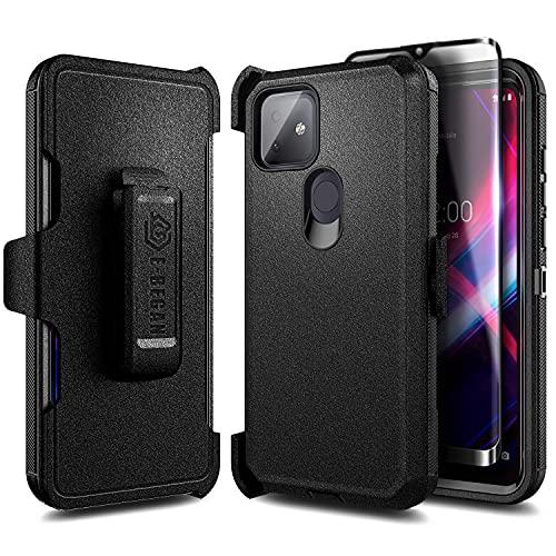 E-Began T-Mobile REVVL 4 Plus Case [Not Fit REVVL 4] with Tempered Glass Screen Protector, Belt Clip Holster, Kickstand Heavy Duty Armor Defender Shockproof Rugged Phone Case -Black