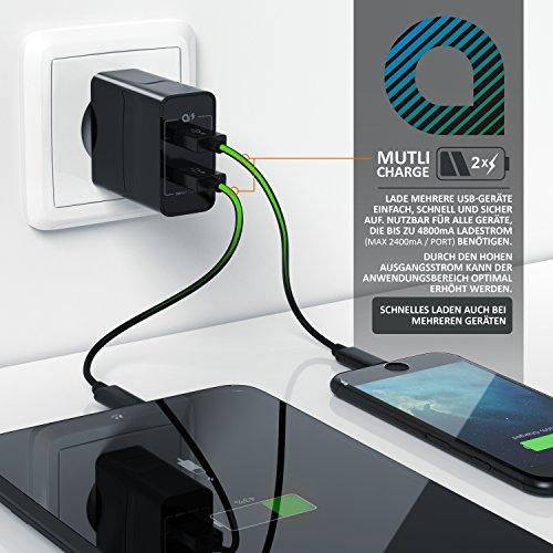 CSL - 24W USB 2 Port Ladegerät Netzteil Dual Port mit Smart Charge Solid Charge intelligentes Laden - kompatibel mit Apple iPhone iPad Samsung Galaxy Note Nexus HTC Motorola LG