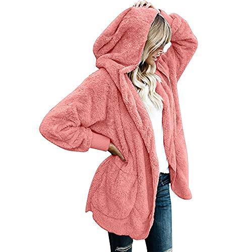 WEISUN Vrouwen Winter Warm Jas Dames Plus Size Pure Kleur Lange Fleece Jas Parka Outwear Vest Jas
