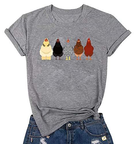 Chicken Tshirt Mom Cute T Shirts Womens Short Sleeves Farm Country Casual Tee Tops Gray