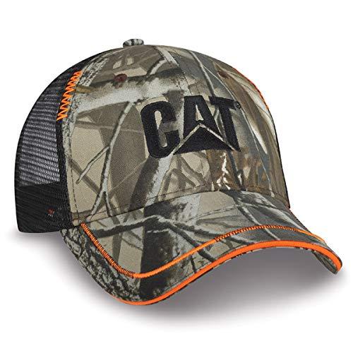 BDA Caterpillar CAT Equipment Realtree Hardwoods Camo/Orange Accent Mesh Cap/Hat