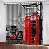 CHNXXL 3D Digital Impresión Cortinas Opacas Big Ben,Londres con Ojales Poliéster Termicas Aislantes En Forma Salón Dormitorio Cuarto De Los Niños 280(W) X250(H)(Cm)