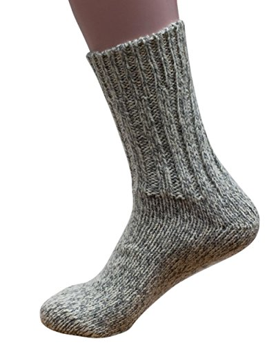 Hirsch Natur Norweger Socken, 100% Wolle (kbT), Graumeliert, 40/41