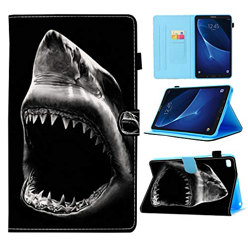 Galaxy Tab A 10.1 2019 Case,Shark Mouth Black and White Pattern Wallet PU Leather Stand Folio Slim Smart with Auto Sleep/Wake Case Cover for Samsung Tab A 10.1 Inch Tablet SM-T510/SM-T515 2019 Releas
