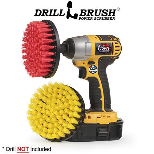 Rojo ONEVER 3PCS Drill Scrubber Brush Power Full Electric Cerda Bathet Tile Grout Cleaner