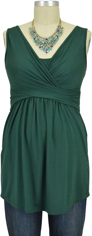 Wrap Sleeveless Maternity & Nursing Top  S  Myrtle Green