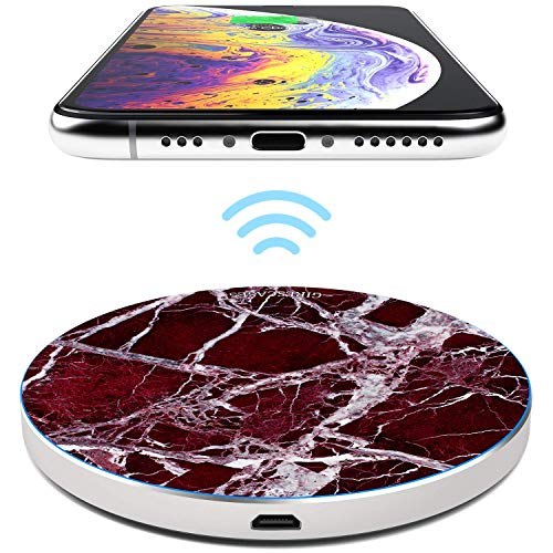 TheSmartGuard 10W Wireless Charger Qi Ladegerät Induktive Ladestation kompatibel für iPhone XS/XR/X/8 Samsung S10/S9/S8/S7 Note 9/8 Huawei P30 Pro usw | Marmor Marble Red Rot Weiß