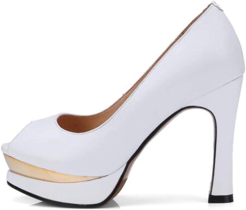 Genuine Leather Peep Toe Pumps shoes Office High Heels 10cm