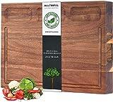 Schneidebrett für Küche, Akazienholz, groß, wendbar, mit Saftrille 3 Fächer und Halter als Käsebrett vielseitig einsetzbar L-24x18x1.4 inch holz