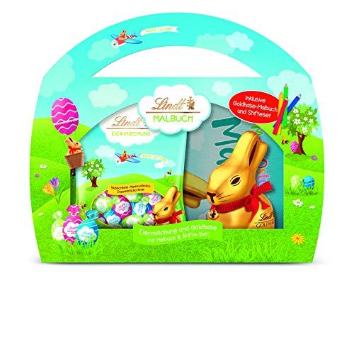 Lindt Goldhase Malbuch, Geschenk-Set (mit einem Goldhasen, einer Eier-Mischung, einem Malbuch und Stife-Set), perfektes Oster-Geschenk für Kinder, 150 g