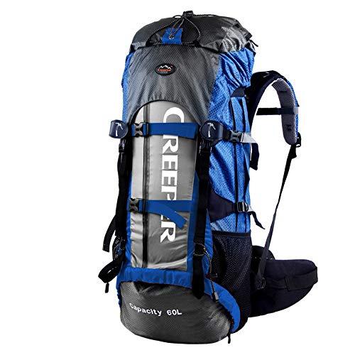 Sacs à Dos alpins étanches Multifonctions, Sac de randonnée CR, avec Housse de Pluie, pour Le Sport en Plein air, Les Voyages, Le Camping, Unisexe,Blue