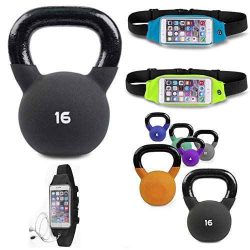 HK Online Neoprene or Vinyl Coated CAST IRON KETTLEBELL -Easy Wide Grip, Sumo Squats, Walking Lunges, Weights & Training GYM BELT, Fitness Waistpack (16)