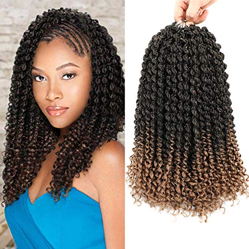 6Packs 14inch Passion Senegalese Twist Crochet Braids Hair Ombre Intrecciare i capelli Spring Bomb Twist Crochet Hair Estensioni dei capelli sintetici per le trecce all'uncinetto(6Pcs, T1B/27)