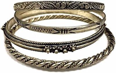 4 Vintage Moroccan Bangle Bracelet Alpaca Louisville-Jefferson County Mall Superlatite Hammered in Engraved
