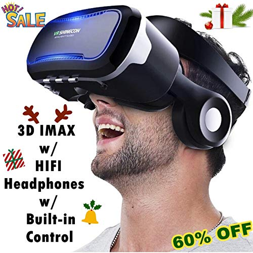 "3D Virtual Reality Headset, Tsanglight 3D VR Glasses Viewer + Headphone for iOS iPhone 11 Pro/XR/XS/X/8/8+/7/7+/6/6S/6S+, Android Samsung Galaxy S10E/S9/S8/S7 Edge/S7/S6 & Other 4.0-6.0"" Cellphone"
