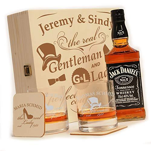polar-effekt 6-TLG Whisky Geschenk-Set mit Jack Daniels No.7-2 Whiskygläser, 2 Untersetzer und Whiskey Flasche in Geschenk-Box Personalisiert mit Gravur - Motiv Gentleman and Lady