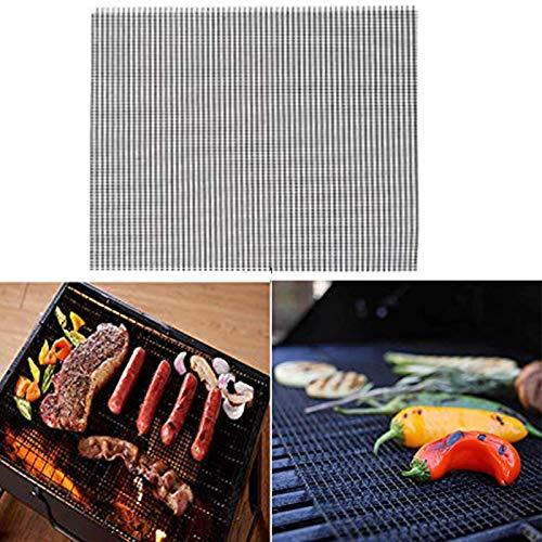 LJJT Cuadrados Antiadherentes Esteras de Cocina Herramientas Barbacoa MeshRoaster Barbacoa Parrilla Estera de Cocina Gadgets 36x42cm