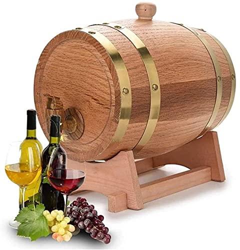 YHQKJ Vasos de Whisky Decantador de Whisky, Roble envejeciendo barriles Whiskey Barrel Dispenser, Cubo de Vino sin Fugas para el Almacenamiento de espíritus de Vino Whisky, 5L