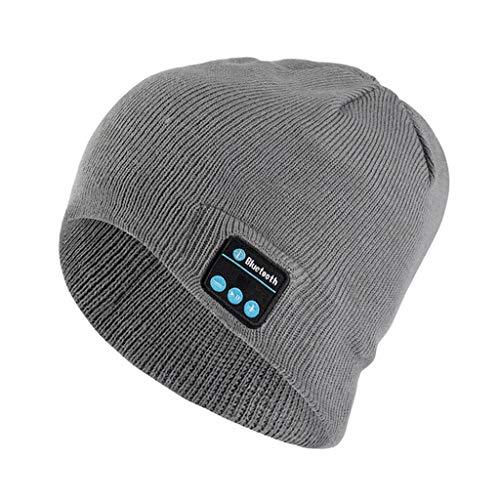 WZHZJ Bluetooth Music Headset Beanie Incorporado SERREO SERREO Altavoz Higo DE Punto para Hombres Mujer Mujer Corriente CAPOR Deportes AL AIRETOR (Color : Light Grey)