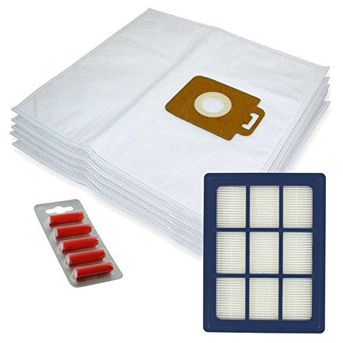 Spares2go Sacs d'Chiffon de nettoyage en microfibre + H12 Filtre HEPA pour Nilfisk Power P40 + Allergy Aspirateur (lot de 5 + cartouche de filtre + désodorisants)