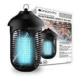 Longchin Bug Zapper Electric Mosquito Killer for Outdoor - 4000V Zapping Power Waterproof Attractant Insect Fly Zapper Trap for Backyard Patio & Indoor - 3000 Sq. Ft Coverage