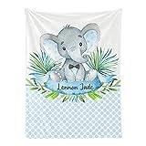 Personalized Baby Blanket, Blue Polka Dot Elephant Custom Nursery Swadding Blankets 30x40 Inches for Baby Boy Girl with Name Baby Shower Birthday Gift