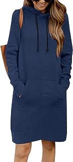 Kidsform Hoodie Damen Sweatshirt Kapuzenpullover Pulli Kleid Pullover Herbst Sweatjacke mit Tasche