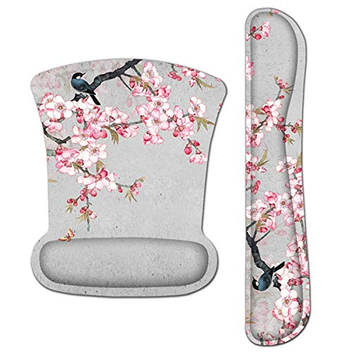 Ergonomic Keyboard Wrist Rest and Mouse Pad Wrist Rest Support Set,Comfortable & Lightweight Memory Foam Computer/Gaming/Office Wrist Set for Easy Typing & Pain Relief by AORTDES(Bird and Pink Flower)