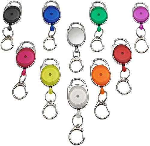 1 Stück Ovaler Jojo-Halter / Rollmatik / Schlüsselanhänger / Schlüsselkette / Schlüsselhalter / Schlüsselrolle mit Befestigungsbügel und Federclip in verschiedenen Farben (Transparent Blau)