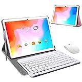 Tablet 10 Pulgadas 4 GB RAM 64GB/128GB ROM Android 9.0 Certificación Google GMS Ultrar-Rápido Tablets 4G LTE Dual SIM / WiFi 8000mAh Quad Core /GPS,Type-c, OTG, Netfilix/ - con Teclado (Rosado)