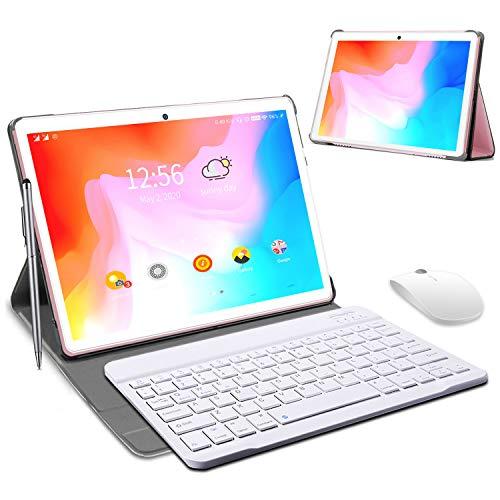 Tablet 10 Pollici , Android 9.0 Certificato da Google GMS Tablets 4G LTE,4 GB di RAM e 64 GB, Doppia SIM Tablet Pc ,GPS,WiFi,Ttastiera Bluetooth,Mouse,Custodia per Tablet e Altro Incluso (Rosa)