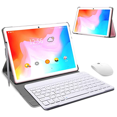 Tablet 10 Pulgadas 4 GB RAM 64GB/128GB ROM Android 9.0 Certificación Google GMS Ultrar-Rápido Tablets 4G LTE Dual SIM / WiFi 8000mAh Quad Core /GPS,Type-c, OTG, Netfilix/ con Teclado (Rosado)