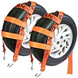 VULCAN Basket Wheel Dolly Tire Strap with S Hooks - 78 Inch, 2 Pack - PROSeries - 1,665 Pound Safe Working Load