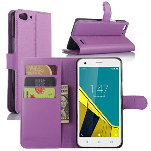 Vodafone Smart Ultra 6 Hülle, HualuBro [Standfunktion] [All Aro& Schutz] Premium PU Leder Wallet Tasche Schutzhülle Hülle Flip Cover mit Karten Slot für Vodafone Smart Ultra 6 Smartphone (Violett)