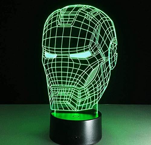 Lámpara De Mesa Led Iron Man, Luz De Noche De Ilusión Óptica 3D, Lámpara De Decoración Acrílica Transparente, Lámpara De Noche Para El Hogar
