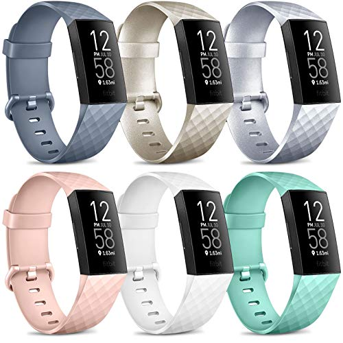 6 Pack Kompatibel für Fitbit Charge 3 Armband/Fitbit Charge 4 Armband, Klassisch Sport Verstellbares Ersatzarmband für Fitbit Charge 4 / Fitbit Charge 3 (B, S)